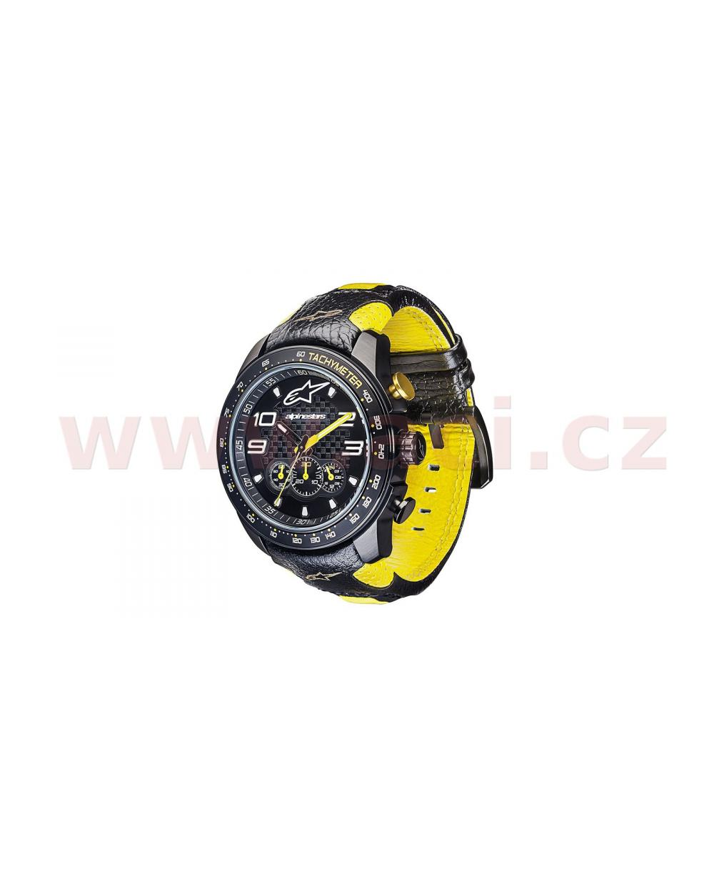 aaade9fdc ... hodinky TECH RACE CHRONO, ALPINESTARS (černá/žlutá, kožený pásek) ...