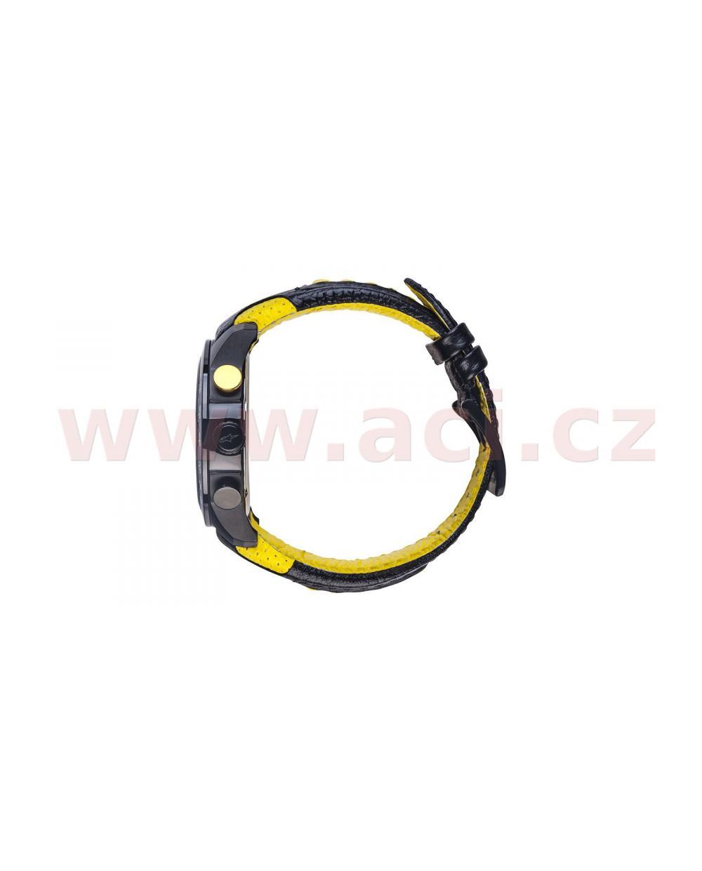 464275643 ... hodinky TECH RACE CHRONO, ALPINESTARS (černá/žlutá, kožený pásek)